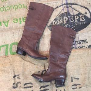 Knee high brown small heel boot